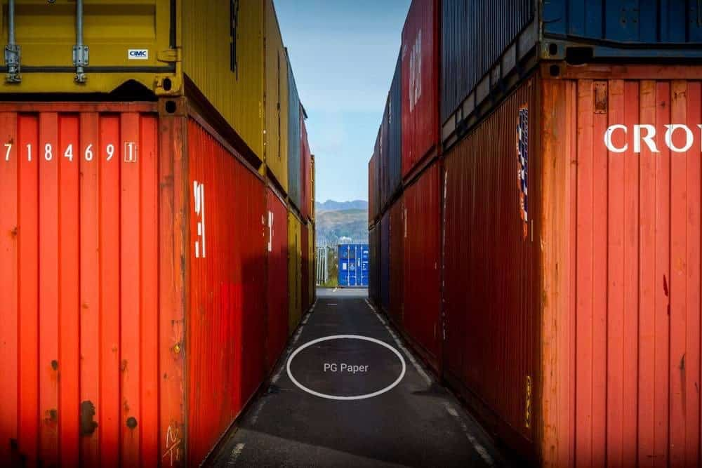 PG Paper Containers in port with corrugated paper